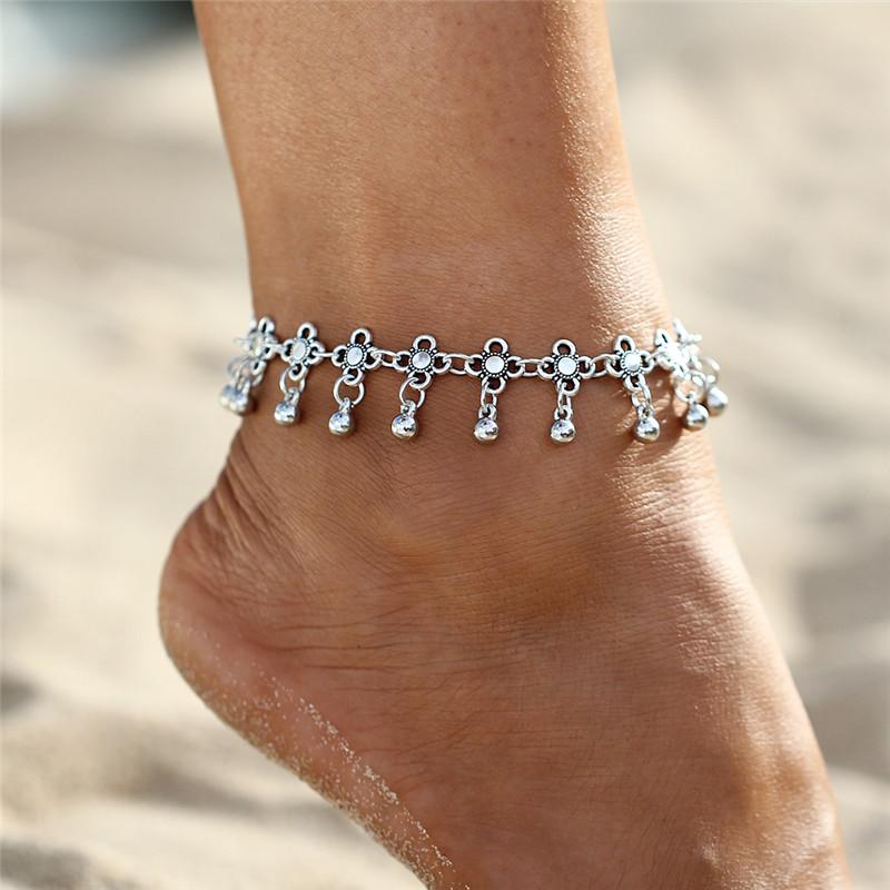 HTB1wEDqSpXXXXcLXXXXq6xXFXXXQ Sterling Silver Anklets - Stylish Women Silver Floral Anklet Foot Chain Jewelry With Charms