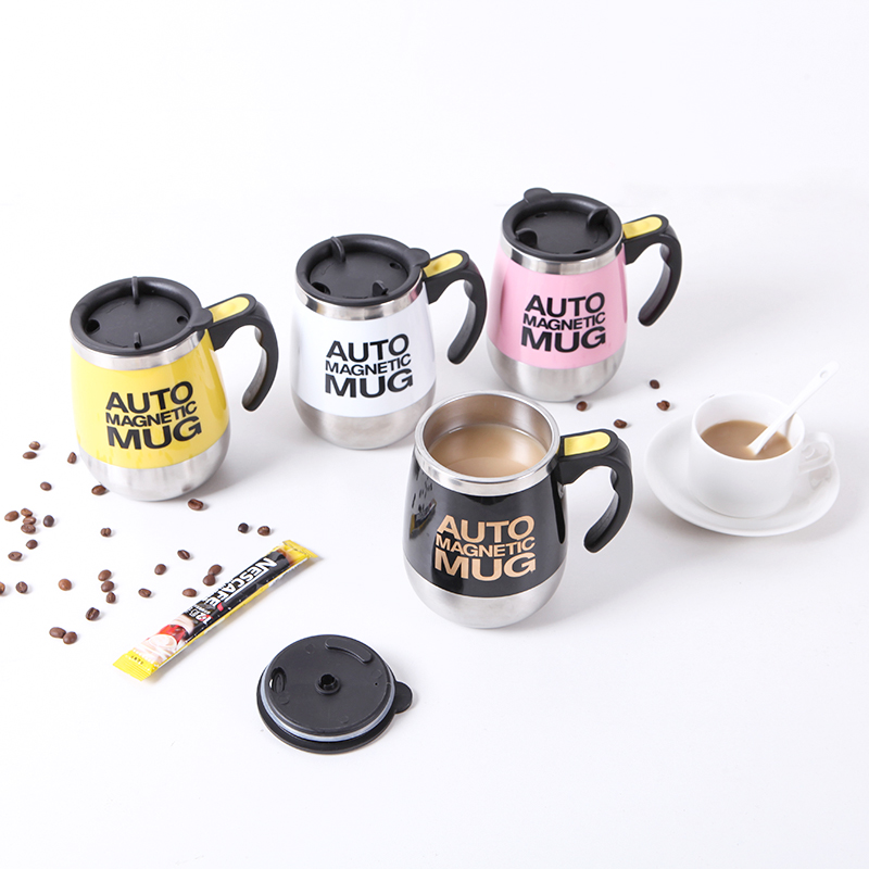 050 Fashion Stainless steel coffee cup with cover automatic stirring electric stirring cup in Coffee Cups Mugs from Home Garden