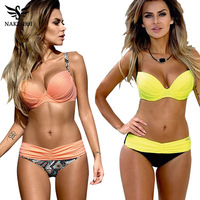 NAKIAEOI Sexy Bikinis Women Swimsuit 2017 Summer Low Waisted Bathing Suits Halter Top Push Up Bikini