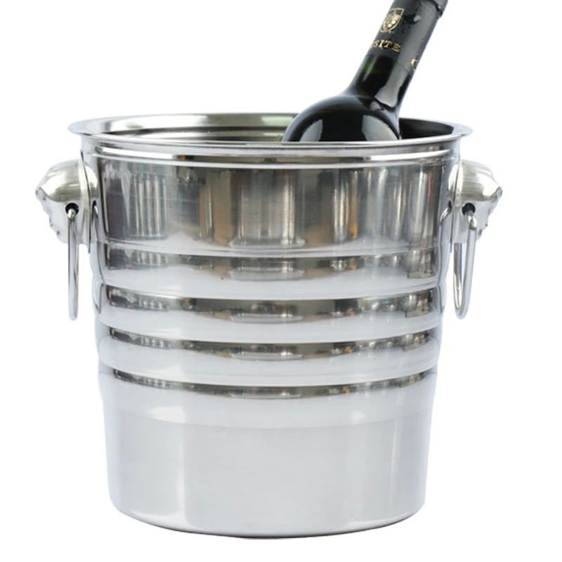 Hot Sale 5L Stainless Steel Ice Bucket Wine Bucket Cooler Whisky Wort Chiller With Portable Handle Champagne Bucket