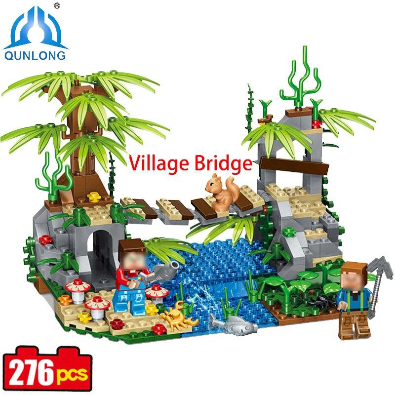 Qunlong Village Bridge Building Blocks Bricks Figures Castle Kids Toy Compatible Legoe Minecraft City Lepine Building Blocks Toy lepin city town city square building blocks sets bricks kids model kids toys for children marvel compatible legoe