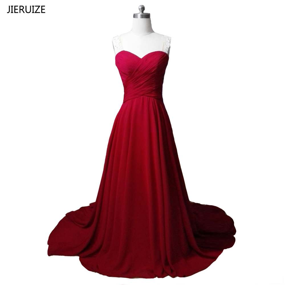 JIERUIZE White Lace Appliques Burgundy Evening Dresses Long Sheer Back Sweetheart Formal Dresses Prom Dresses robe de soiree