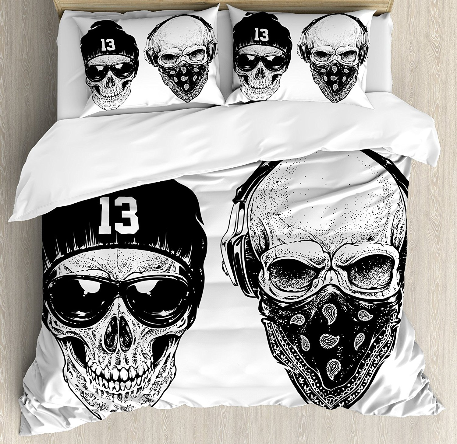 Duvet Cover Set, Funny Skull Band Dead Street Gangs with Bandanna Hood Rapper Style Grunge Print, 4 Piece Bedding Set
