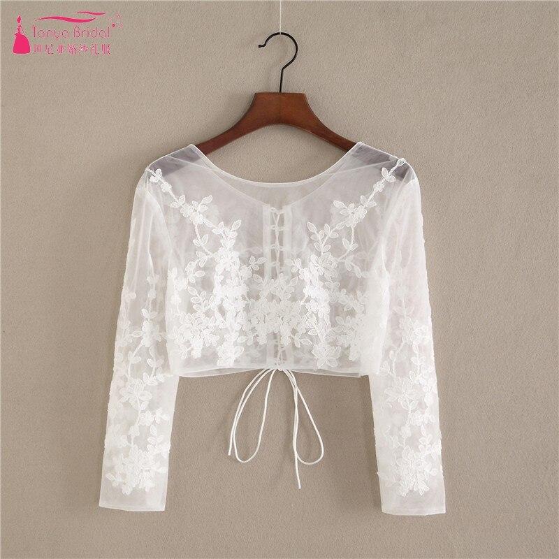 Long Sleeves Lace Appliques Ivory Wedding Bolero Scoop Neck Wedding Bridal Jacket DQG596