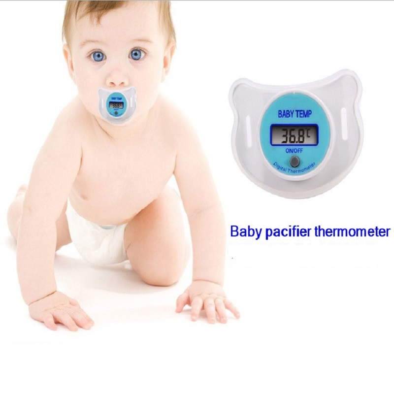 1pcs Great Portable Mouth Nipple digital Thermometer LCD Infant Baby Pacifier Temperature diagnostic-tool soft safe wholesale