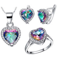 Luxury Jewelry Sets Crystal suit Girls New 925 Silver Heart of Ocean Crystal Pendant Ring Earrings Necklace Jewelry Set