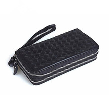 Crazy horse leather double zipper long wallet large capacity multi-purpose men and women clutch handbag hot free shipping