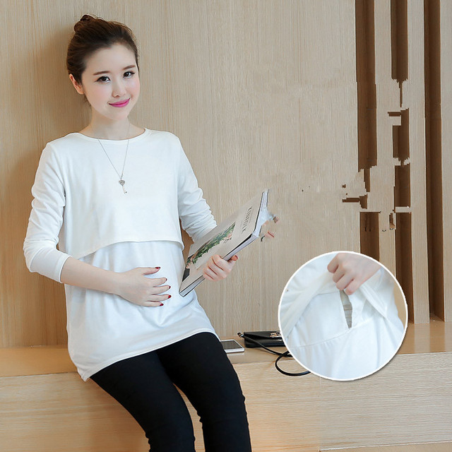 Cotton Breast Feeding Nursing Tops Tees Mothers Clothes for Pregnant Women Maternity Wear Shirt Clothing Ropa Embarazada B236