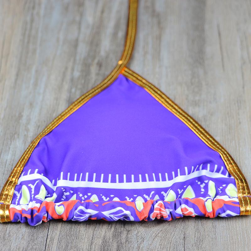 South African Golden Halter High Waist Two Pieces Bikini Set