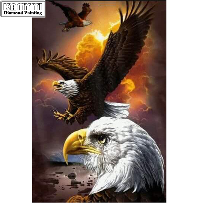 5D Diy Full Round Diamond Painting Soaring Eagle Mosaics Cross-stitch Diamond Embroidery New Year Decoration Gifts Diamant