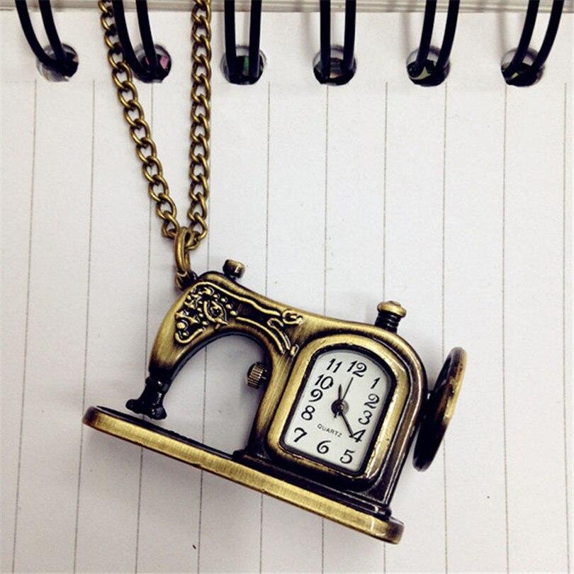 2017  Fashion Pocket Watch Chain Quartz-watch Bronze Alloy Sewing Machines Pendant Pocket Watch Christmas Gift 2016 vintage bronze doctor who quartz pocket watch with luxury gift box pendant hour chain