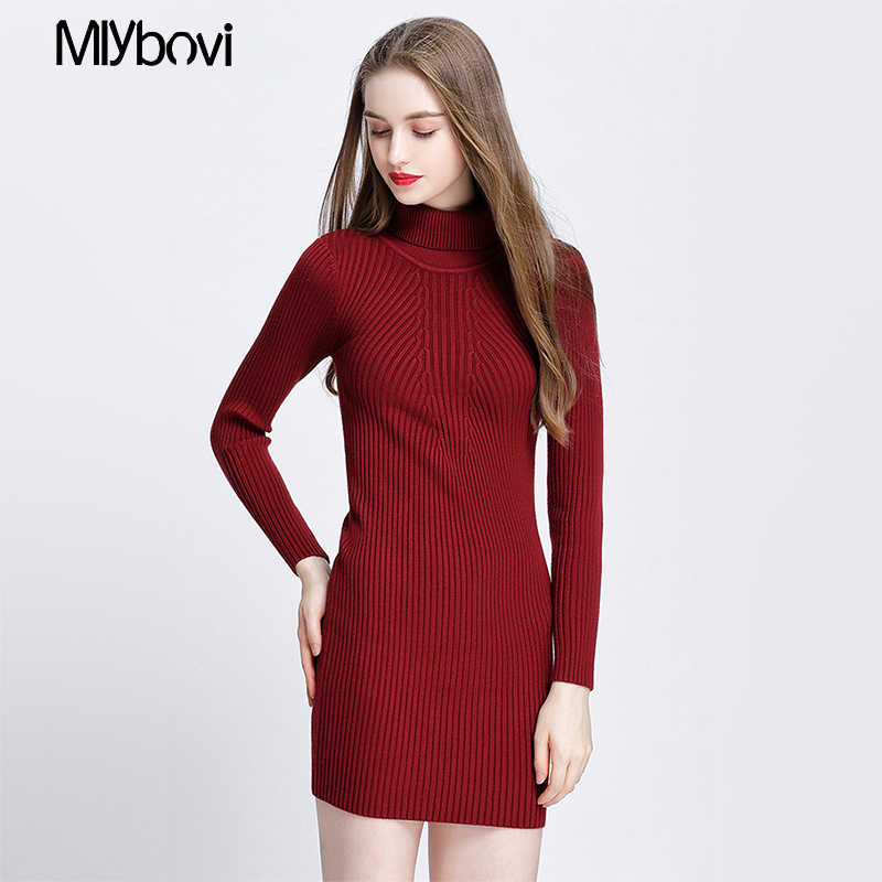 Turtleneck sweater women pullover Knitted winter woman sweaters 2018 Autumn women fashion Wine Red/Black/Gray casual sweater