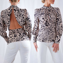 2019 New Fashion Women Summer Leopard Print Long Sleeve Turtleneck Backless Blouses Casual Loose