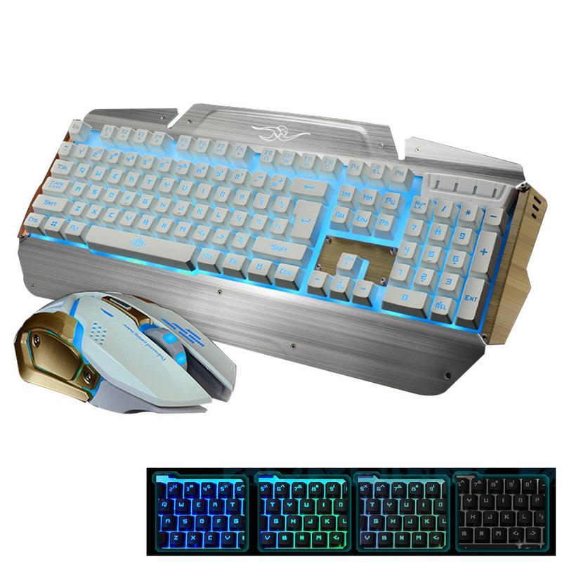 Rétro-éclairage mécanique tactile souris clavier ensemble Usb métal rétro-éclairé clavier avec porte-main filaire jeu souris et clavier ensemble