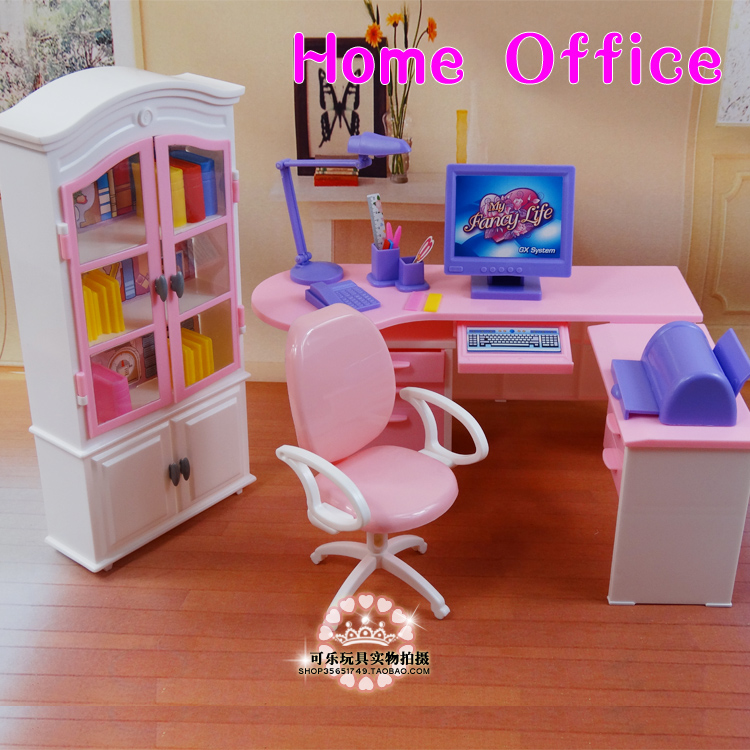 Home Office Computer Desk Combination Bookcase Doll Furniture For Barbie Doll DIY Toys,doll Accessories