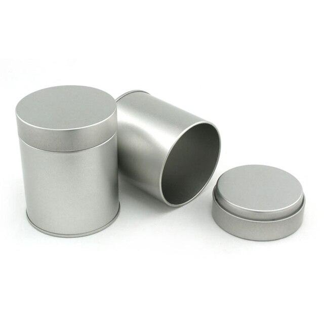 9 Cm Haute Petit Cylindre Boîte En Métal Noir Thé Cas De Stockage