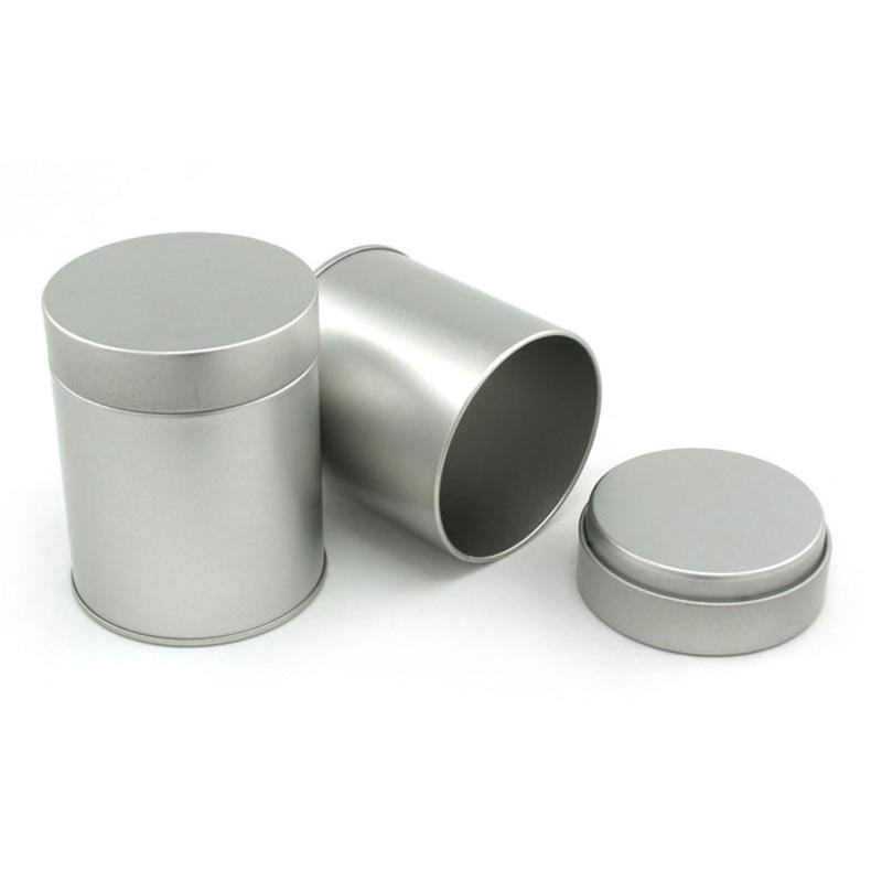 9cm High Small Cylinder Metal Box Black Tea Storage Case Round Tin Coffee Gift Can