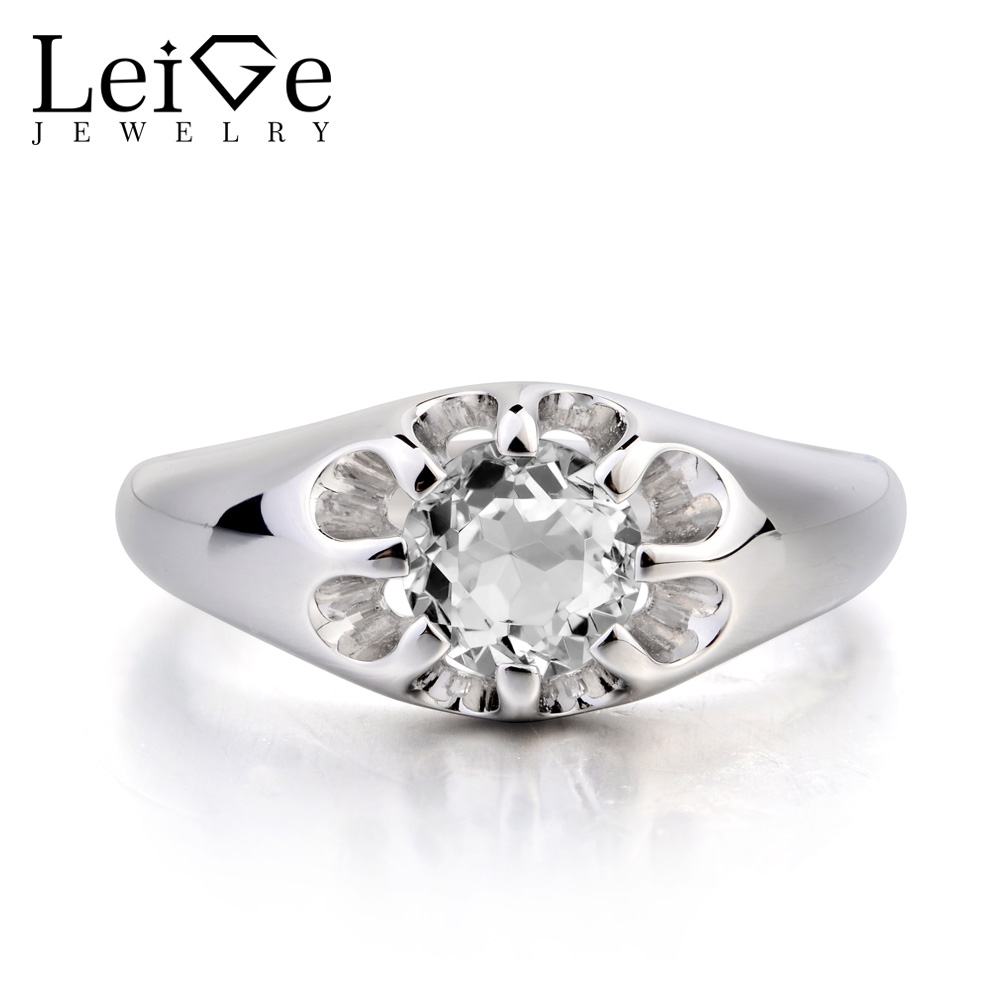 Leige Jewelry Wedding Ring Natural White Topaz Ring Round Cut Gemstone Solitaire Ring November Birthstone 925 Sterling Silver leige jewelry real natural white topaz ring wedding ring pear cut gemstone november birthstone solid 925 sterling silver ring