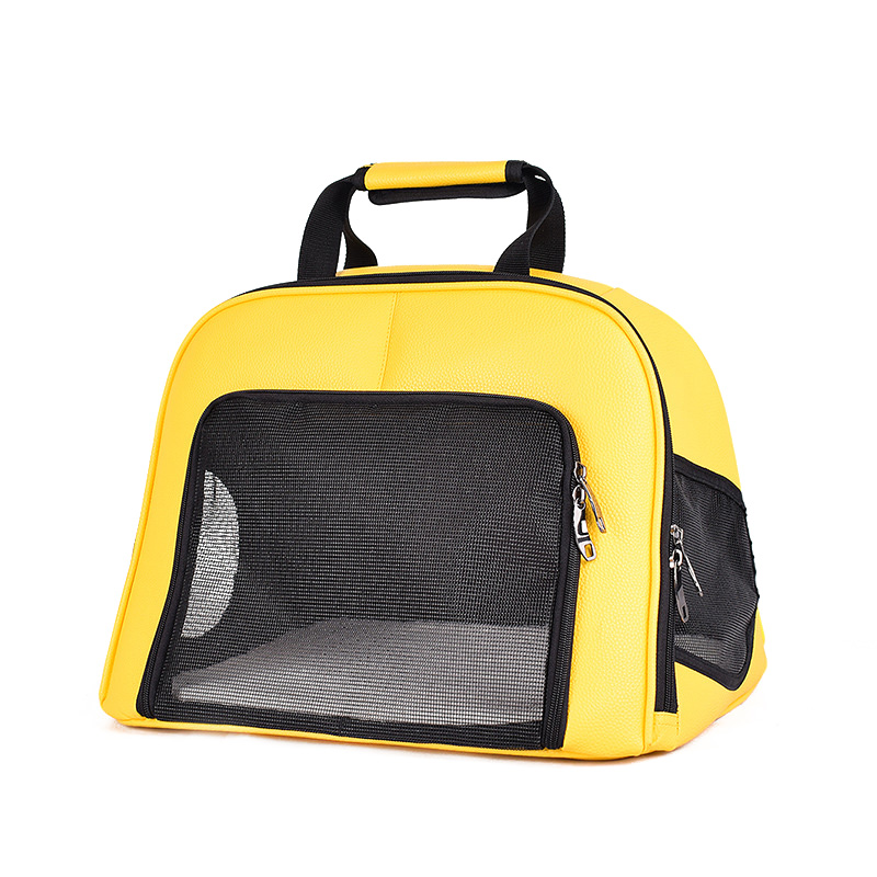Pet Cat Carrier Foldable Travel Bag Breathable Outdoor Handbag Pet Production for Cats Dog Multi-functional Fashion Yellow 6