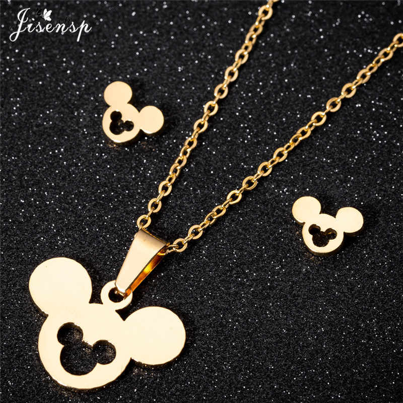 Jisensp Cute Mickey Minnie Earrings for Women Kids Animal Mouse Gold Necklace & Pendant Jewelry Set Girls Christmas Gifts Bijoux