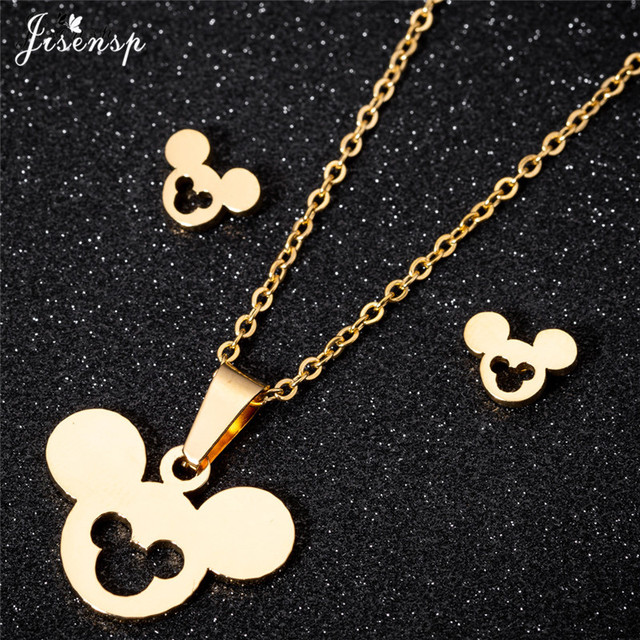 Jisensp חמוד מיקי מיני עגילים לנשים ילדים בעלי החיים עכבר זהב שרשרת & תליון תכשיטי סט בנות חג המולד מתנות Bijoux