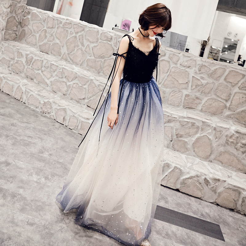 Sequins V-neck Elegant Tulle Long evening party dresses Lace Ribbon Robe De Soiree Formal Dress Occasion Prom Party Dress Gow