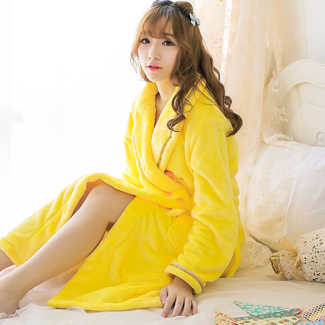 Adult Women Pikachu Yellow Solid bathrobes Lady Girls Winter Soft Warm Robes Sexy Sleepwear Pajamas Pyjamas Tracksuit nightdress