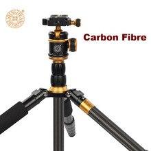 QZSD Q888C Professional Carbon Fiber Tripod Monopod With Ball Head Compact Portable Detachable Tripod Stand for DSLR SLR Camera