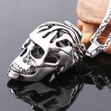 Big Stainless Steel 3D Skull Pendant Neckalce For Man Biker Punk Collection Skull Jewelry stainless steel mens