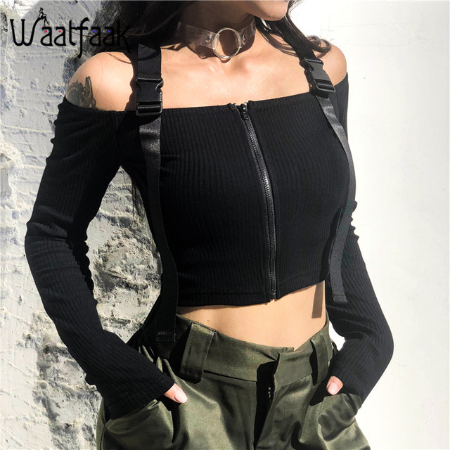 2f4e7777a5 Waatfaak Long Sleeve T-shirt Adjusted Buckle Straps Sexy Off Shoulder Crop  Top Zipper Black