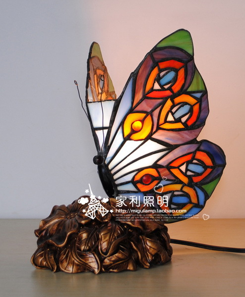 Tiffany Lighting Small Night Light Three Dimensional Butterfly Table