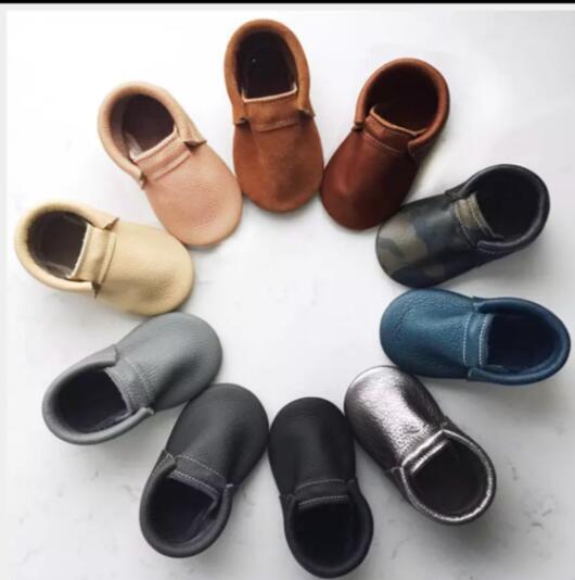 2019 New Bulk Genuine Leather Baby Kids Shoes Infant Toddler Girl Boy Anti-slip Tassel Baby Moccasins Custom Logo
