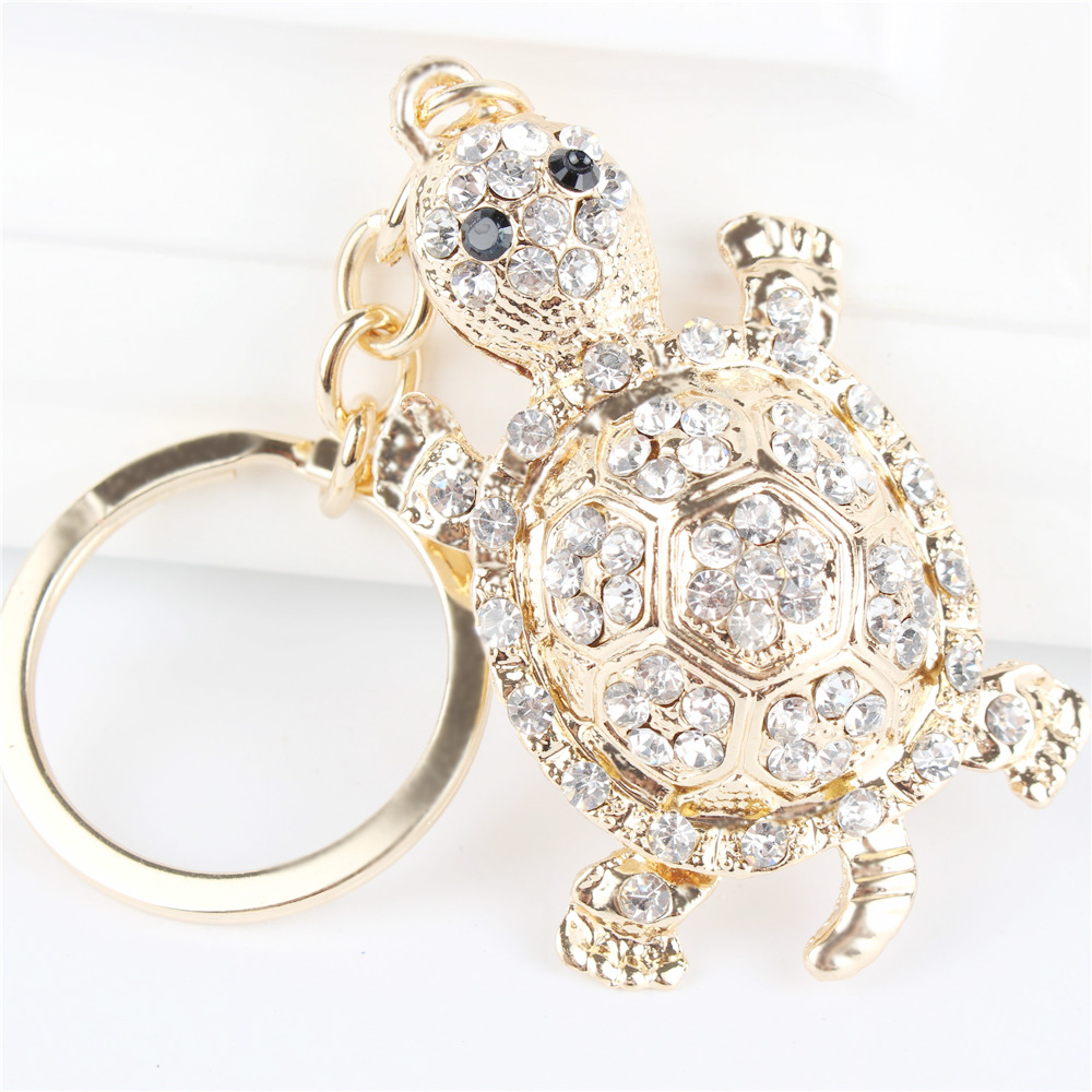 White Tortoise Turtle Pendant Charm Rhinestone Crystal Purse Bag Keyring Key Chain Accessories Wedding Party Lover Gift