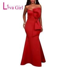 цена на LIVA GIRL Sexy Off Shoulder Backless Evening Party Maxi Dress Women Strapless Bow Formal Long Dresses Red Vestido Robe De Soiree
