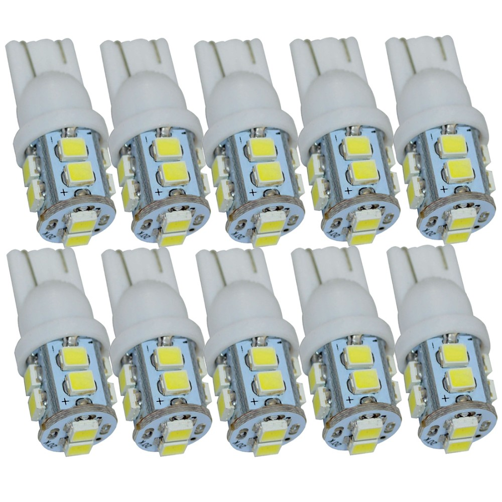 Safego 10pcs W5W led T10 White 10 SMD 12V 194 168 147 Car Side Wedge bulb lamp Light Reading Bulbs Parking T10 W5w Led Car Bulb 10pcs new hot t10 wedge 5 smd 5050 xenon car led light bulbs 192 168 194 w5w 2825 158 cool white