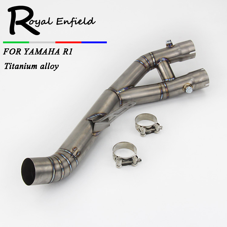 YZF R1 2015 Stainless Steel titanium alloy Mid Pipe Motorbike Motorcycle Middle Link Exhaust Muffler for YAMAHA YZF-R1 2015 gift for baby 1pc 1 12 17cm ducati yamaha yzf r1 cross country motorcycle collection plastic alloy model children boy toy