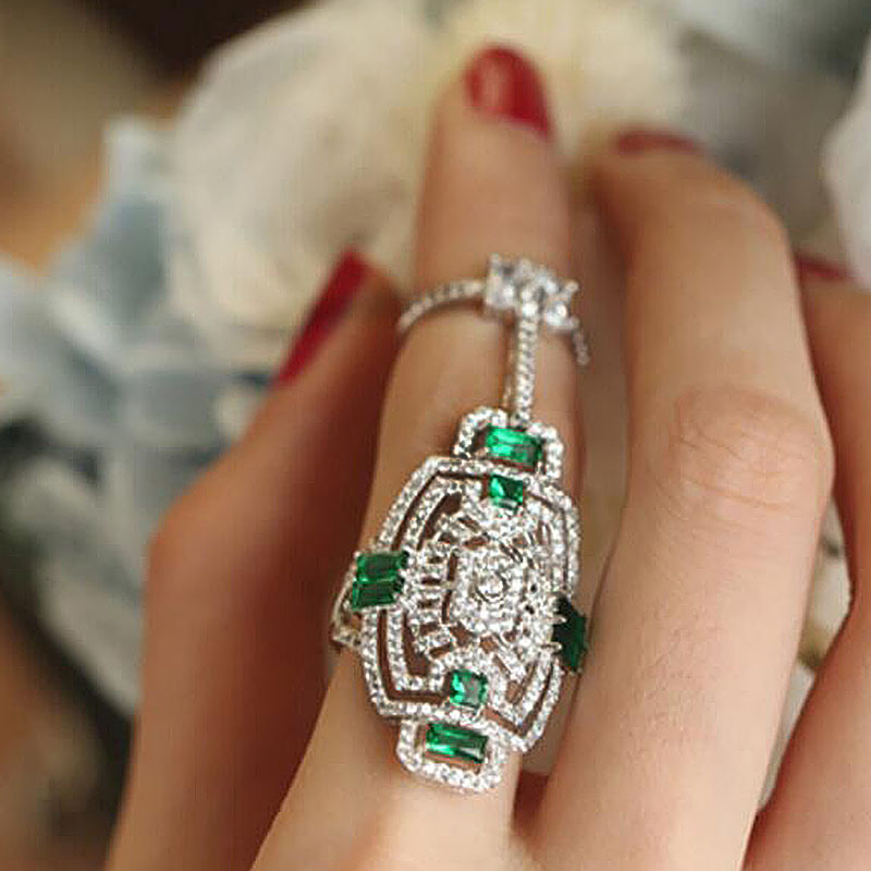 Name Brand Style Shield AAA Green Zircons 2pcs Vintage European Statement Rings for Wome ...