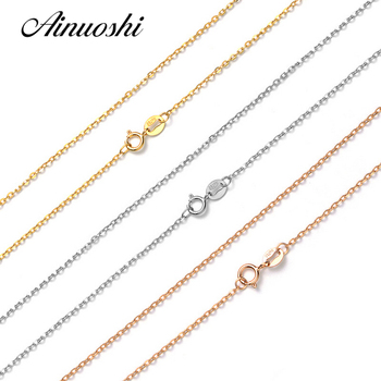 AINUOSHI Luxury Pure 18K Solid Rose Gold Yellow Gold White Gold O Shape Women Necklaces For Engagement Pendant 45cm 18\'\' Chain