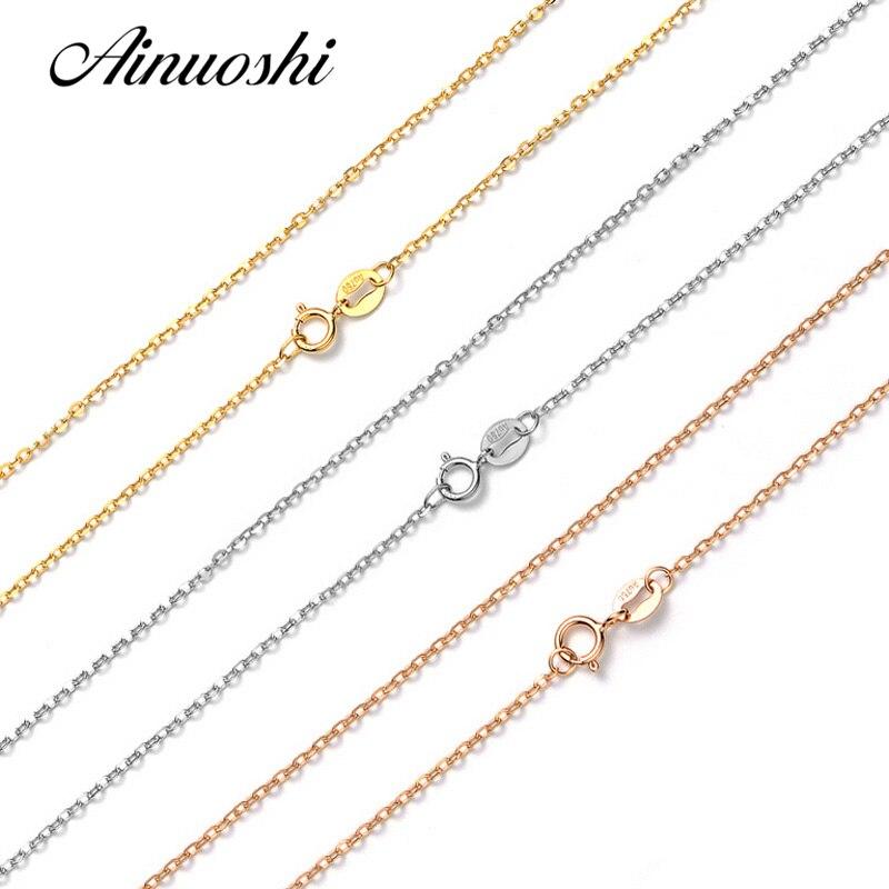 AINUOSHI Роскошные Pure 18 К Solid Rose Gold желтое золото Белое Золото O форма для женщин ожерелья для мужчин обручение кулон 45 см 18 ''цепи