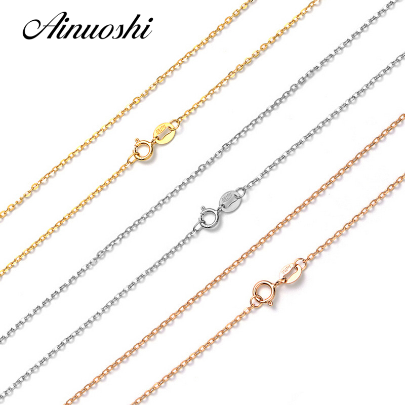 AINUOSHI luxe pur 18 K solide or Rose or jaune or blanc O forme femmes colliers pour fiançailles pendentif 45 cm 18 ''chaîne