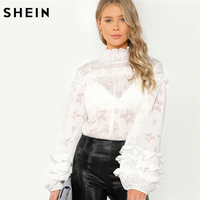 SHEIN Casual Smocked Neck Puff Sleeve Ruffle Blouse Women White Stand Collar Layered Frill Plain Top
