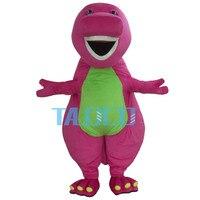 Best Barney Dinosaur Mascot Costume Cartoon Party Dress Adult Free Shipping