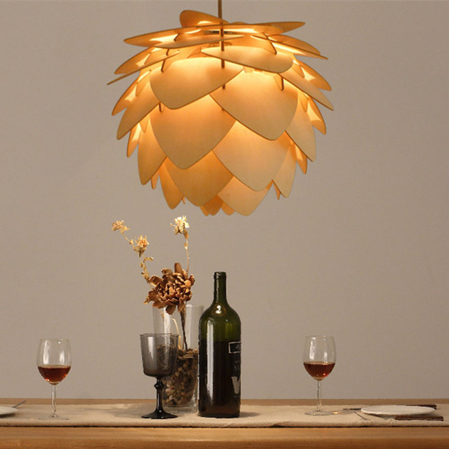 Aliexpress buy modern wooden pinecone diy pendant lamps dia 30 modern wooden pinecone diy pendant lamps dia 304560cm lampshade for living room aloadofball Image collections