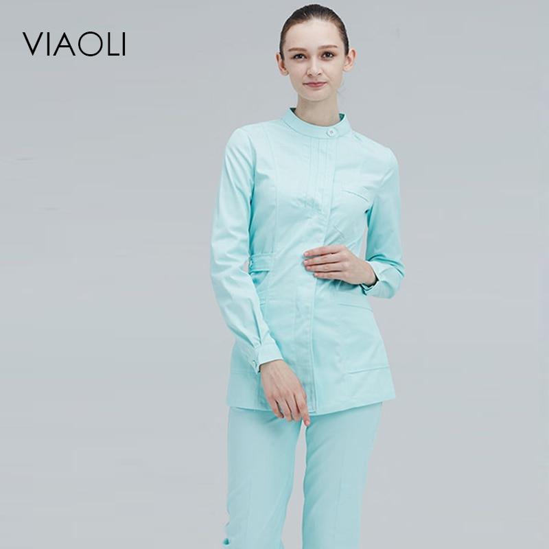 Viaoli Long Sleeve Stand Collar  Women Medical Coat  Uniform Medical Lab Coat Hospital Doctor Clothes Set  White Coat