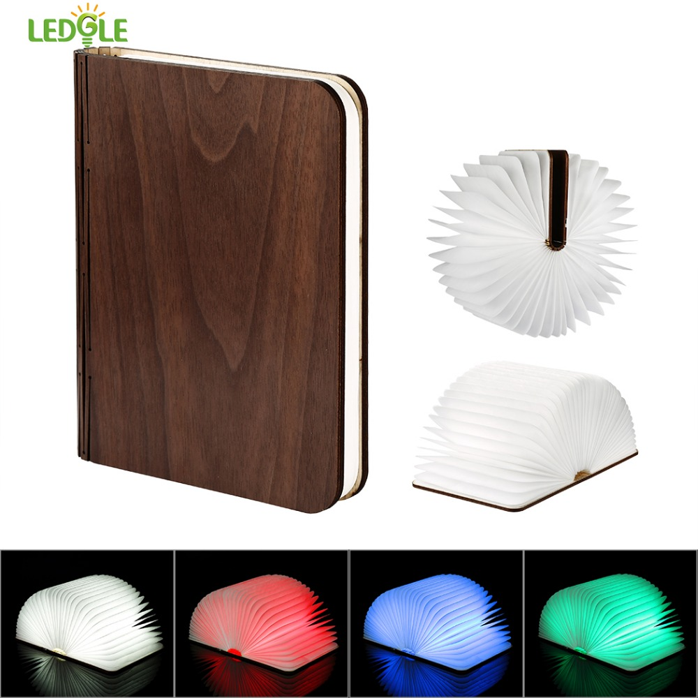 LEDGLE Foldable Book Light Rechargeable LED Night Light Creative Book Shaped Lamp for Decor 4 Color Modes Magnetic Design icoco usb rechargeable led magnetic foldable wooden book lamp night light desk lamp for christmas gift home decor s m l size