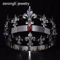 zerongE jewelry King Queen Full Tiara Crowns Adult Women Men Birthday Prom round crown Queen King Crystal gun Metal circle Crown