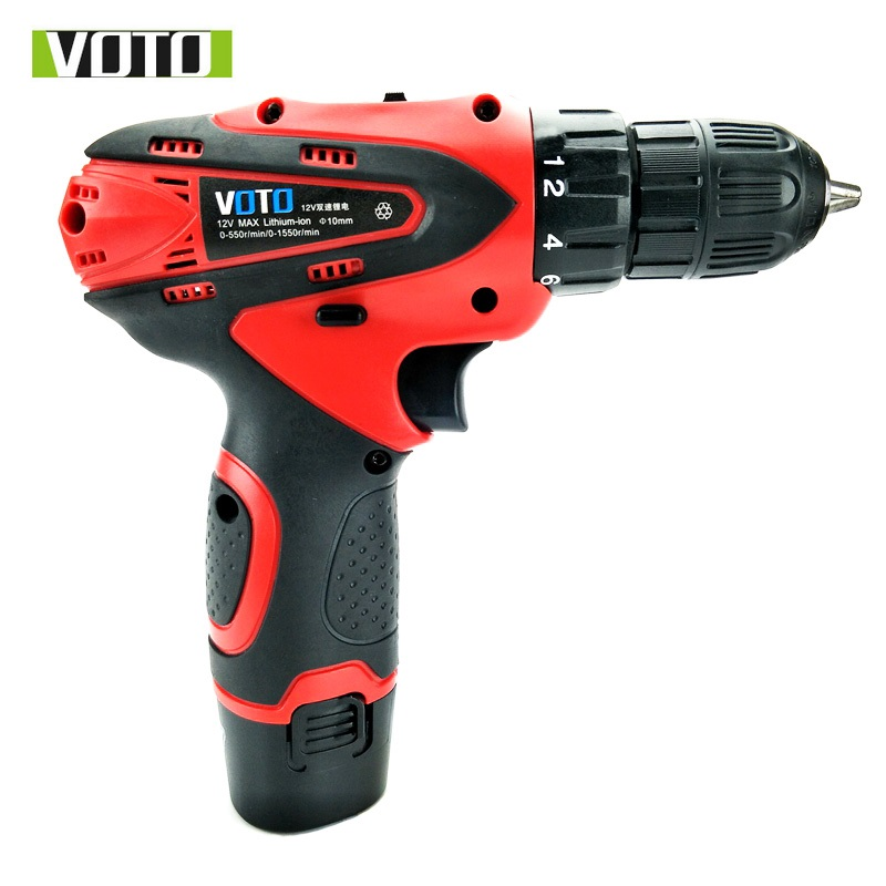 VOTO electric Drill Screwdriver Power Tools Cordless Carbon brush Mini Drill double speed lithium electric drill 12V 2batterries топ спортивный under armour under armour un001ewrdl99