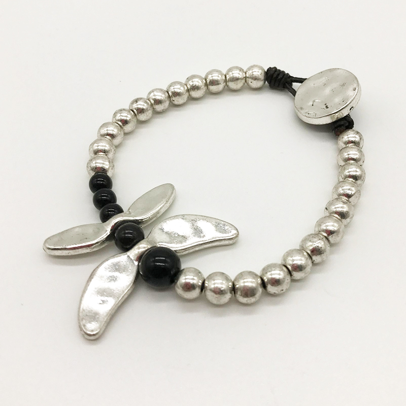 Youga Vintage Multilayers Dragonfly Bracelets Bangles for Women cowhide made by hand Bracelets Jewelry YB021 in Strand Bracelets from Jewelry Accessories