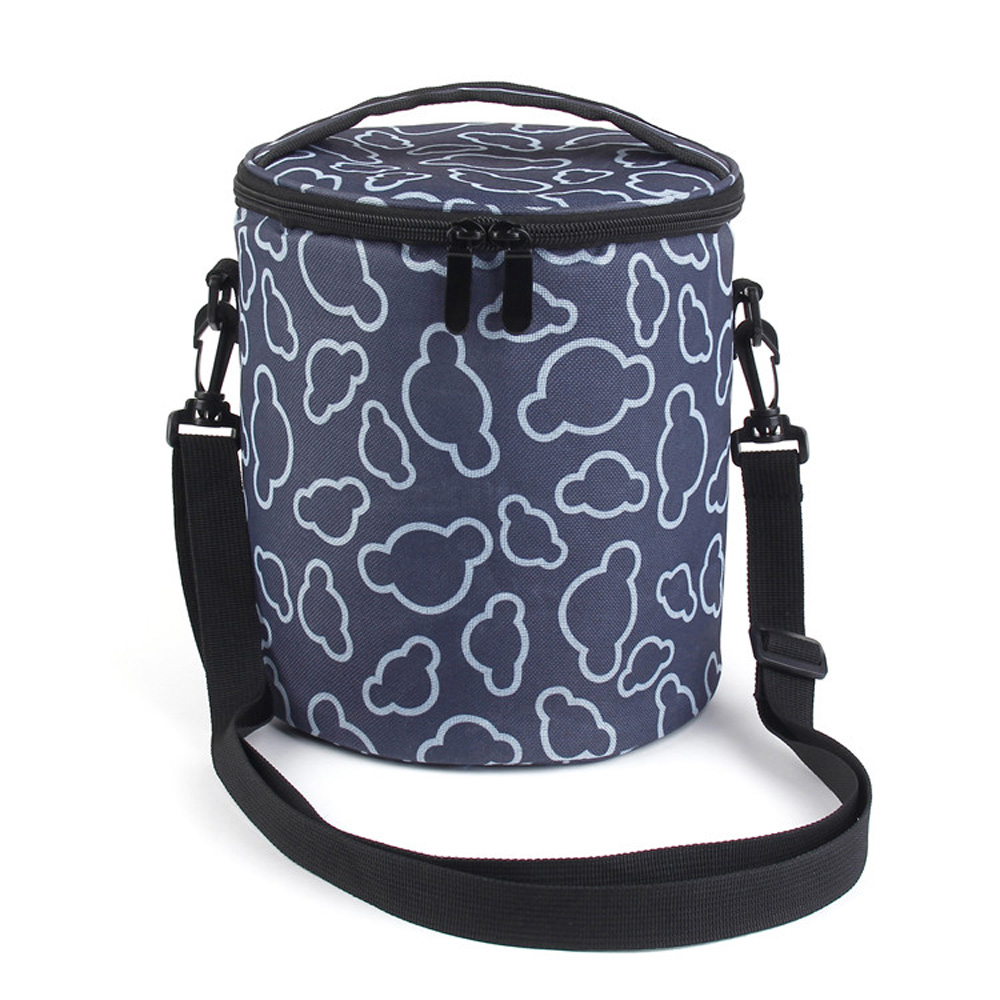Thickening Cylindrical Bolsa Termica Com Marmita Thermal Bag with Kettle Long Strap Insulation Barrel Tote Messenger