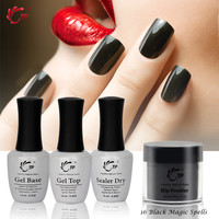 TP Dipping Powder 28g/1oz Gel Top 14ml/bottle Nail art Glitter Without Lamp Cure French Starter sets Dip Powders Natural Dry